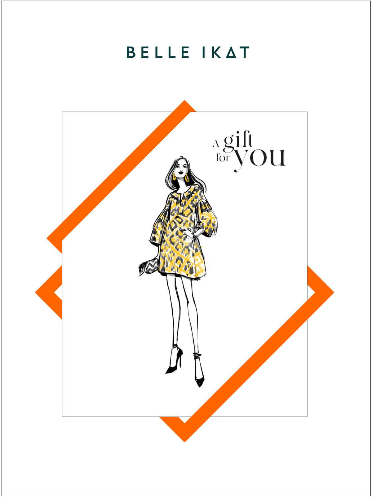 Illustration mit einem Modell in einem gelben gemusterten Kleid von Belle Ikat