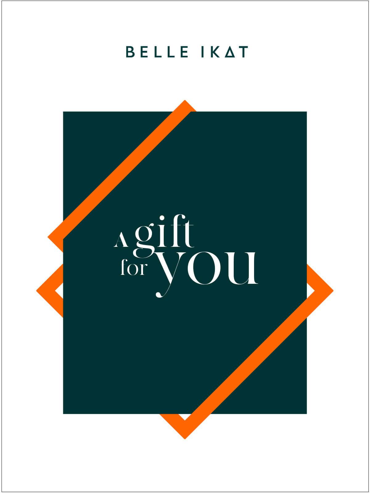 """Illustration von einem grünen Rechteck und Schriftzug """"A gift for you"""""""