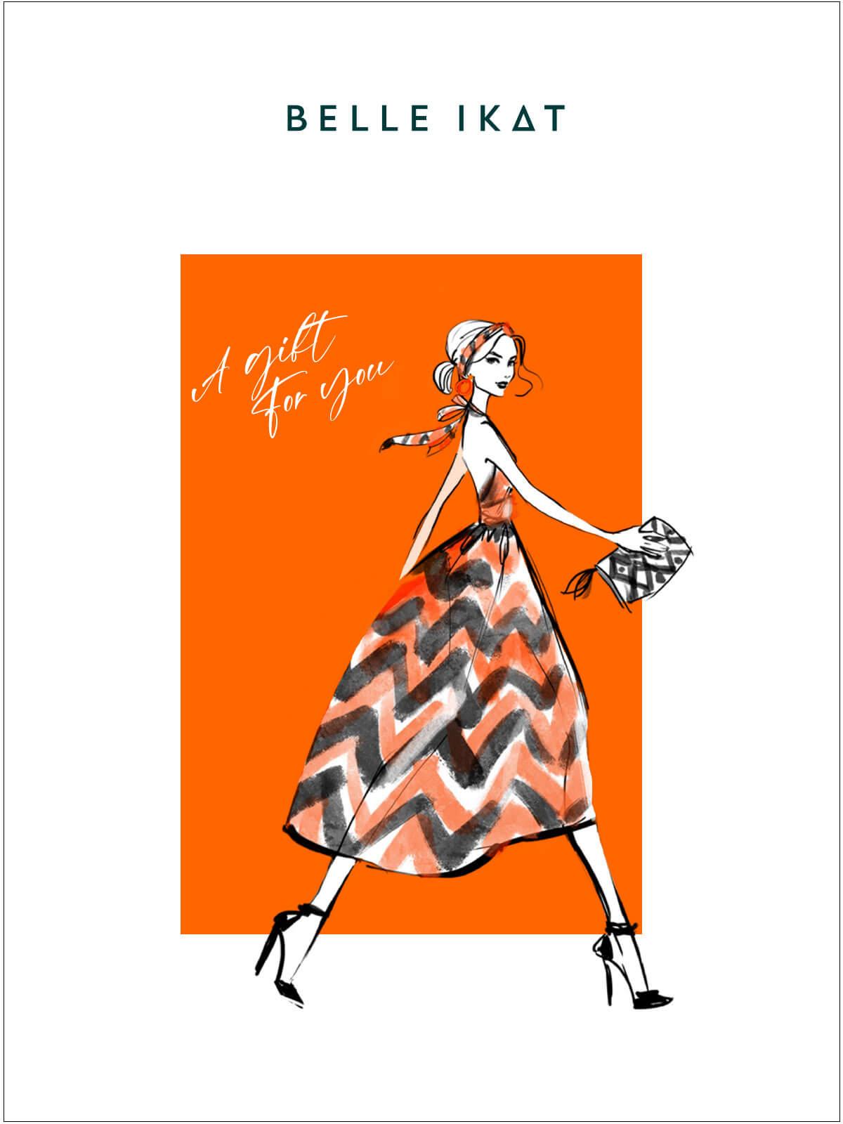 Illustration mit einem Modell in einem gemusterten Kleid von Belle Ikat