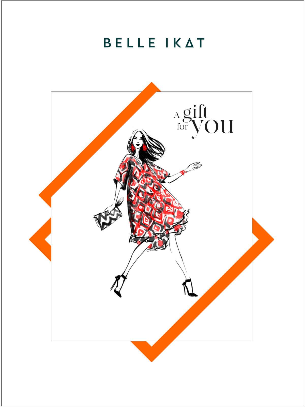 Illustration mit einem Modell in einem roten gemusterten Kleid von Belle Ikat