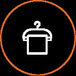Icon von einem Bügel mit Stoff
