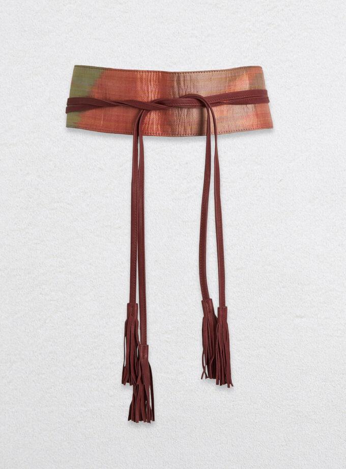Wickelgürtel aus Leder mit Ikat-Muster