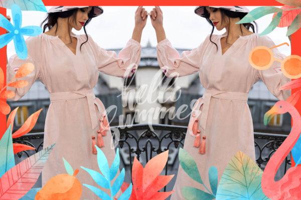 eine bunte Collage aus floralen Mustern und einer Frau im rosa Leinenkleid