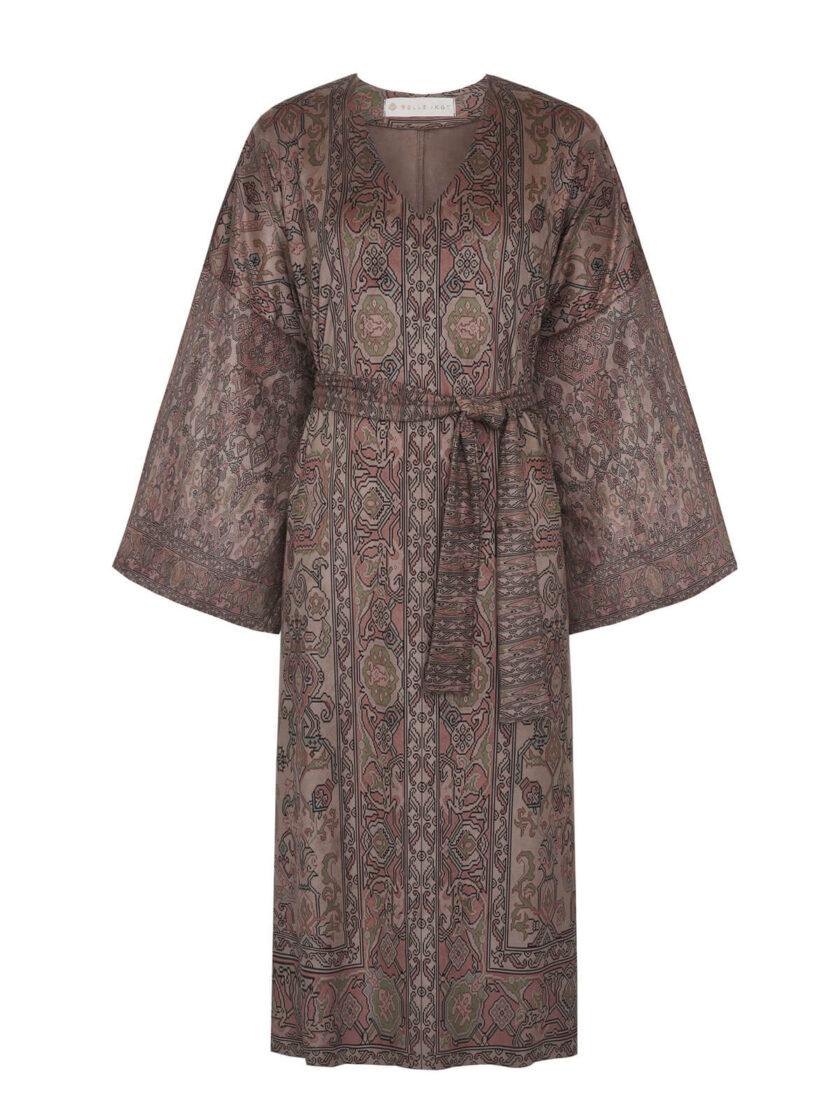 Freisteller von Maxi Kleid in Wildlederoptik mit armenischen Mustern