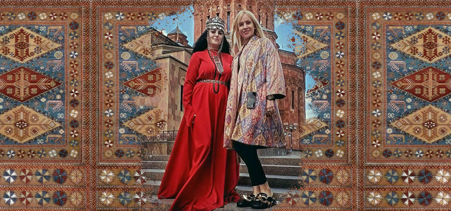 Armenische Muster mit zwei Frauen in der Mitte in armenischen Kleidern