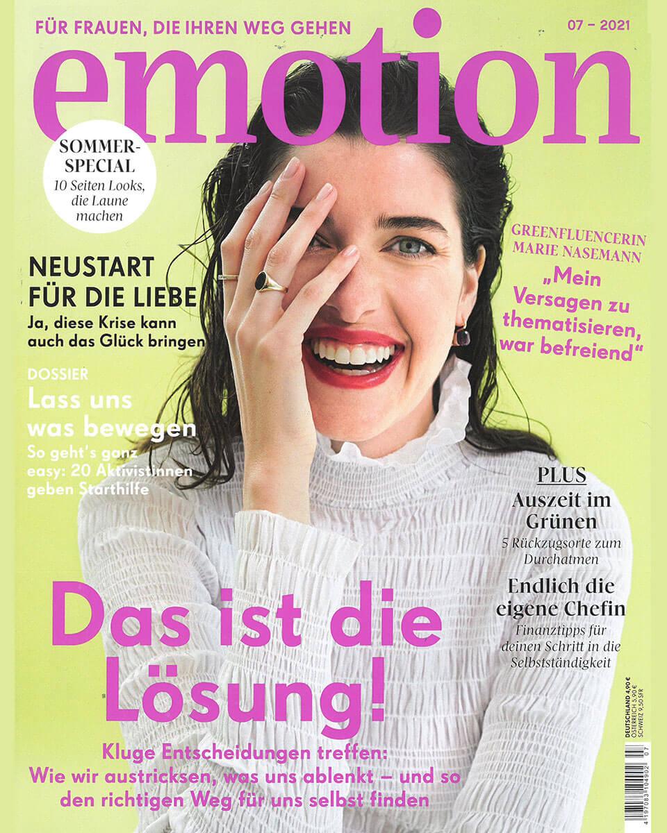 """Titelseite vom """"emotion"""" Magazin, Ausgabe Juli 2021"""